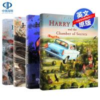 英文原版 哈利波特彩绘版4册精装 哈利波特与魔法石 密室 阿兹卡班的囚徒 火焰杯 全彩插画版 Harry Potter