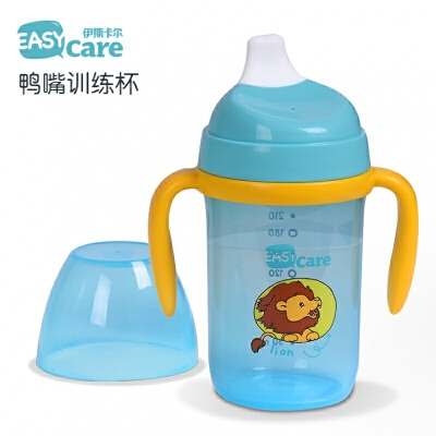 鸭嘴杯 安全防摔训练杯 婴儿吸管杯防漏喝水杯宝宝学饮杯a217 红色