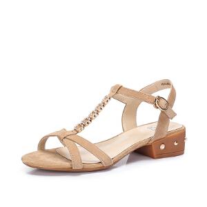 骆驼女鞋 2018夏季新品 时尚优雅羊�S中跟凉鞋 T字带舒适方跟凉鞋