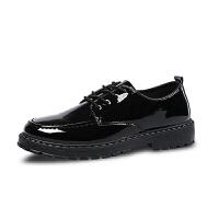 秋季韩版潮黑色英伦皮鞋男鞋子社会休闲小皮鞋男士工作上班厨师鞋 黑色
