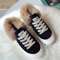 №【2019新款】冬天女生穿的毛毛鞋女平底加绒板鞋棉鞋新款韩版兔毛系带休闲鞋子 黑色