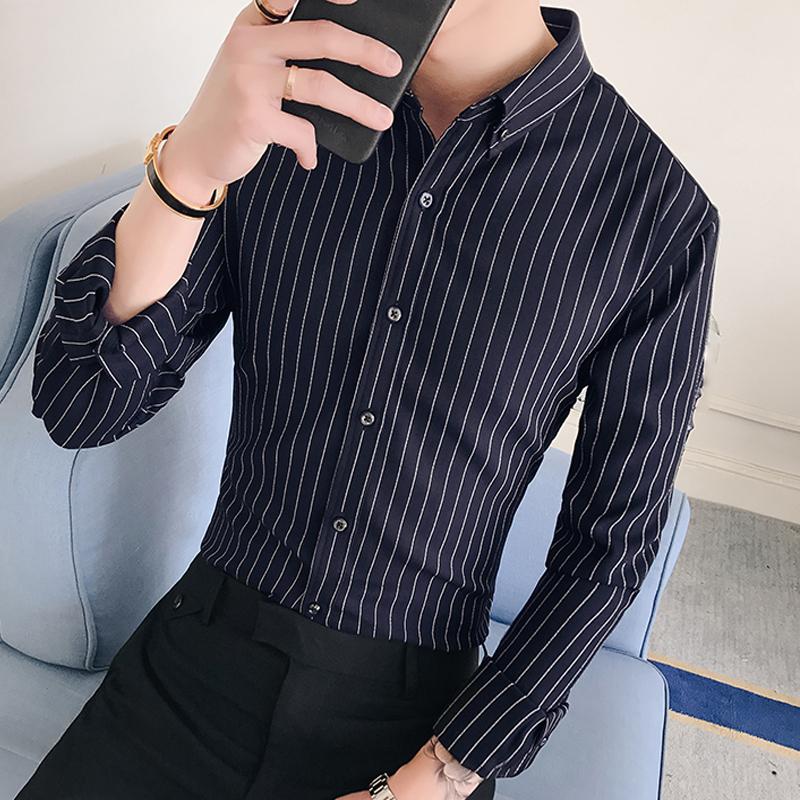 男装春季新款潮流条纹气质商务个性休闲衬衫韩版衬衣110919