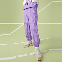 【1件5折价:99.5,26日0点可叠券】美特斯邦威工装长裤女紫色潮流2020新款秋季休闲宽松束脚慢跑裤女