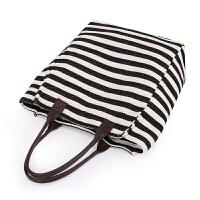 大包包女2018新款时尚麻棉条纹帆布包手提包单肩包女包妈妈包