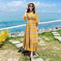 2018民族风雪纺高腰长裙海边度假沙滩裙波西米亚连衣裙