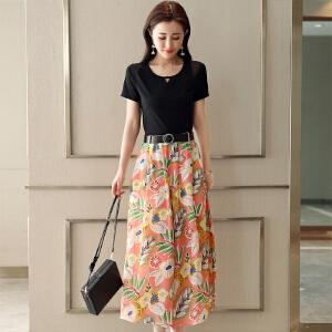 风轩衣度 套装/套裙2018年夏季藏青色舒适修身纯色气质韩版简约 2278-1879