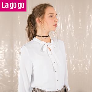 Lagogo/拉谷谷2018年夏季新款时尚蝴蝶结纽扣长袖衬衫HACC333Y12