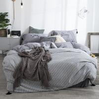 水洗棉四件套简约黑白条纹1.8m床单被套床上用品床笠床品