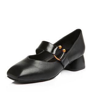 BASTO/百思图2018春季专柜同款黑色牛皮小V口方头奶奶鞋女皮鞋RBG24AQ8