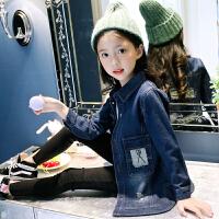 女童中长款牛仔外套秋装韩版岁女孩贴标牛仔风衣