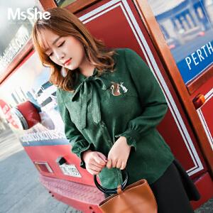 MsShe加大码女装2017新款冬装复古蝴蝶结系带灯芯绒衬衫M1740312