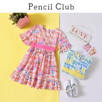 【3件2折:69.8】铅笔俱乐部童装2020夏新款女童裙子喇叭袖连衣裙儿童印花公主裙