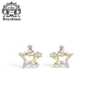 皇家莎莎925银针小耳坠精致迷你耳环女气质韩国简约星星个性耳钉