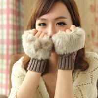 短款韩版菱形半指手套针织短 女士保暖毛线仿皮草仿兔毛手套