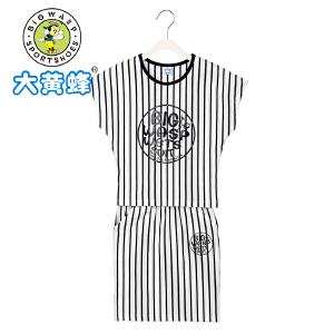 大黄蜂童装 女童套装2018新款夏季小孩休闲条纹韩版短袖上衣短裙