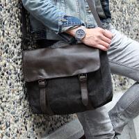 新款斜跨男包包休闲单肩包帆布包学生包斜挎男士旅行包潮包男式 灰黑色加厚帆布