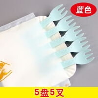 餐具套装塑料小鹿一次性刀叉盘叉套装生日刀叉碟组合 蓝色 5盘5叉