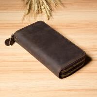 时尚钱包男长款拉链钱夹复古新款皮手拿包手机包多卡位大容量皮夹