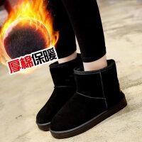 雪地靴女秋冬季韩版百搭学生短筒加绒短靴平底休闲棉鞋子 黑 色