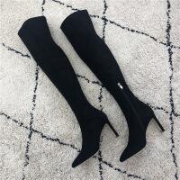№【2019新款】冬天美女穿的过膝长靴女弹力靴袜子靴超高跟鞋细跟尖头显瘦长筒靴