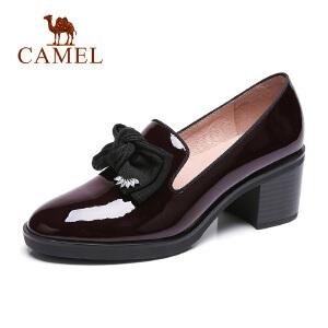 camel骆驼2018秋季新款中跟粗跟尖头皮鞋女黑色职场蝴蝶结工作气质单鞋