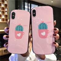 粉色仙人掌x/xsmax手机壳iPhonexr/7plus椭圆形6s/8p硅胶软壳 7/8代 粉色仙人掌圆弧形