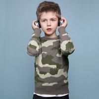 【3件3折:99元】暇步士童装秋季新款男童线衣时尚舒适迷彩圆领针织衫线衣儿童线衣