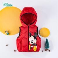 迪士尼Disney童装 男童连帽羽绒马甲轻暖防寒马夹冬季新品米奇印花坎肩194S1145