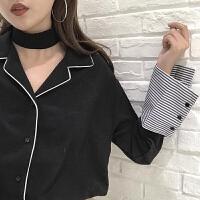 拼接条纹长袖雪纺衬衫女春装新款韩版宽松西装领单排扣衬衣上衣潮