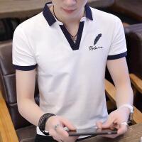 男士短袖衬衫领青年t恤男夏季韩版潮流POLO衫翻领半截袖衣服男装