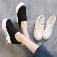 韩版潮小白鞋厚底松糕鞋内增高帆布鞋高跟10厘米CM套脚休闲女单鞋 白色 超纤皮