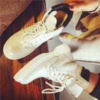 欧洲站新款真皮马丁靴女士加厚保暖短靴皮面女靴学生平底女鞋冬潮
