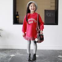 №【2019新款】冬天儿童穿的女童卫衣冬韩版儿童红色洋气女孩公主裙连衣裙子 玫红色