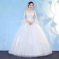 婚纱礼服2018新款新娘结婚一字肩韩式显瘦长袖齐地冬季时尚轻婚纱