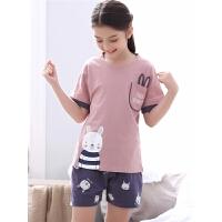 女童睡衣夏季儿童家居服夏天空调服薄款大童小孩宝宝短袖套装