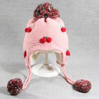 秋冬3个月女宝宝儿童帽子加厚毛线帽0手工公主帽1婴幼儿套头帽2岁 粉 6-18个月