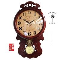 北极星木制时尚创意客厅中式仿古摆钟田园静音时钟表大壁挂钟 20英寸