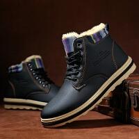 冬季雪地靴男韩版潮流短靴东北加绒加厚保暖棉鞋高帮靴子马丁鞋潮 N31 黑色
