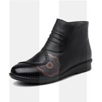真皮棉鞋新款冬季加绒高跟鞋女粗跟妈妈鞋中老年女鞋皮鞋短靴棉靴SN6607 黑色平底W79-1
