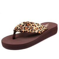 女士人字拖中跟厚底坡跟防滑夏季夹拖凉拖鞋波西米亚沙滩鞋