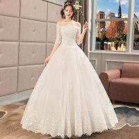 一字肩婚纱礼服2018新款新娘主纱结婚赫本大码长袖显瘦齐地女冬季