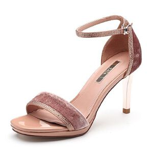 Tata/他她2018夏专柜同款绒布水钻一字带高跟女凉鞋FJP01BL8