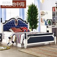 zuczugZUCZUG欧式床实木单人床 青少年男女地中海英伦风格家具储物床 卧室家具