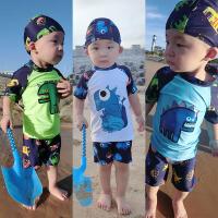 儿童泳衣男童男孩小中大童分体恐龙速干防晒韩国泳衣温泉泳装 乳白色