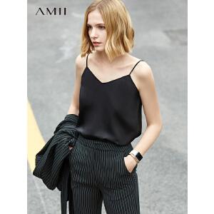 【到手价:83.9元】Amii极简帅气欧美风潮货吊带背心女2019夏季新款纯色露肩百搭上衣