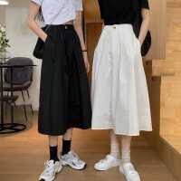 裙子夏季2020新款高腰�@瘦中�L款A字裙小��子�@瘦白色半身裙女夏