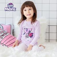 【2件3折】小马宝莉童装女童秋装2018秋冬新品家居服套装紫色