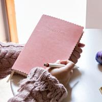 韩国简约小清新方格笔记本文具创意加厚商务记事本子纯色软皮面日记本手帐本