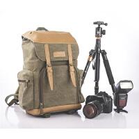 摄影包牛皮帆布国家地理单反双肩相机包户外休闲背包