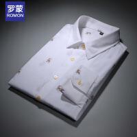 罗蒙(ROMON)秋季男士长袖衬衫纯棉修身青年男衬衣印花男上衣商务白色男装